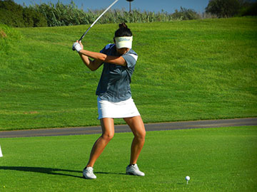 Carolin Chang takes a swing on Monday. (SBCC Photo)