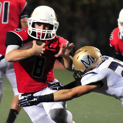 Bishop Diego Mike Soracco scored three touchdowns and had 122 rushing yards. (John Dvorak/Presidio Sports Photos)