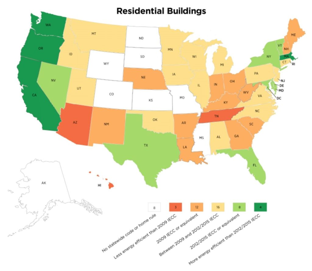 A US map color coded to show residential energy-efficiency building codes by state.