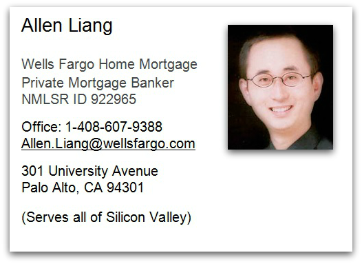 Allen Liang Wells Fargo Bank Private Mortgage Banker contact information