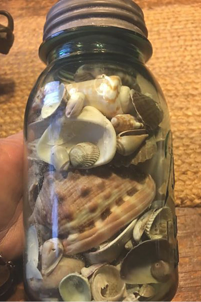 Aqua Antique Ball Mason with Shells