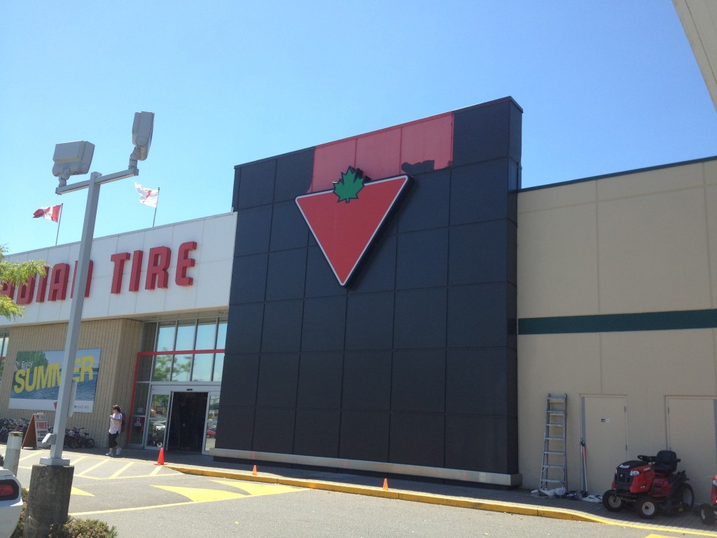 Commercial exterior painting project for Canadian Tire in Abbotsford