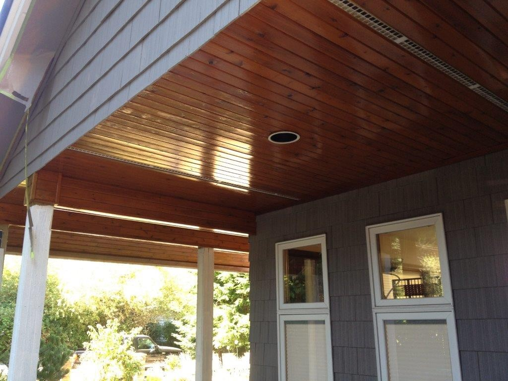 exterior wood varnishing for a White Rock, BC home.