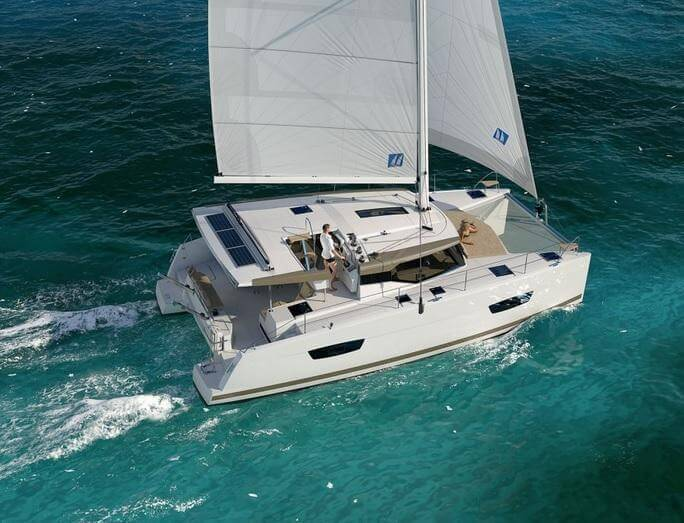 Fountain Pajot Lucia 40 Sailing Catamaran for bare boat and skippered charters in Italy by Catamaran Charter Italy