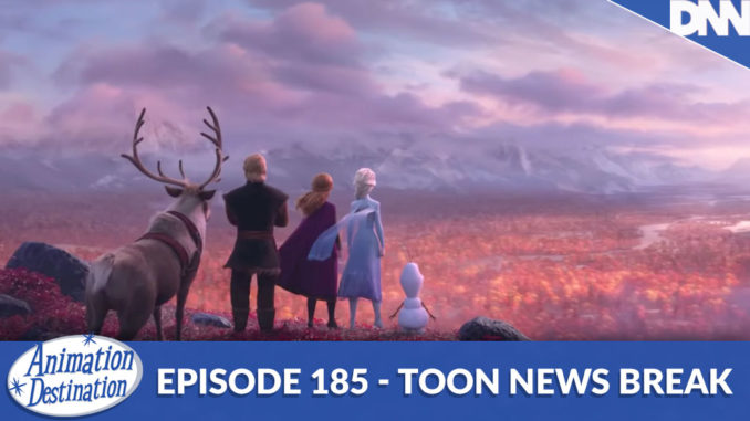 Anna, Elsa, Kristoff and Olaf staring at the horizon