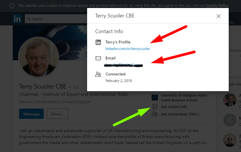 Screenshot of LinkedIn email