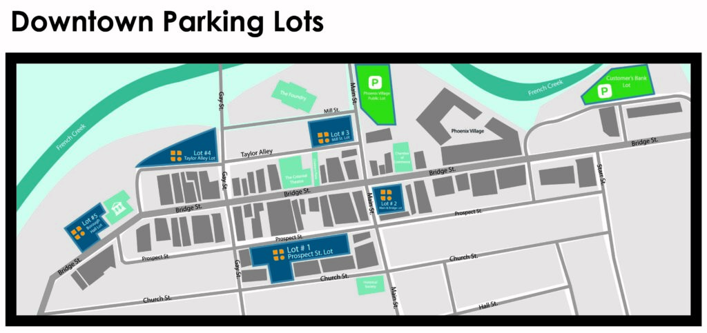 Parking lots in downtown Phoenixville, Phoenixville Borough Hall