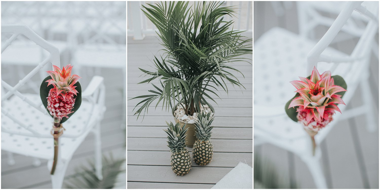 gold pineapple wedding details