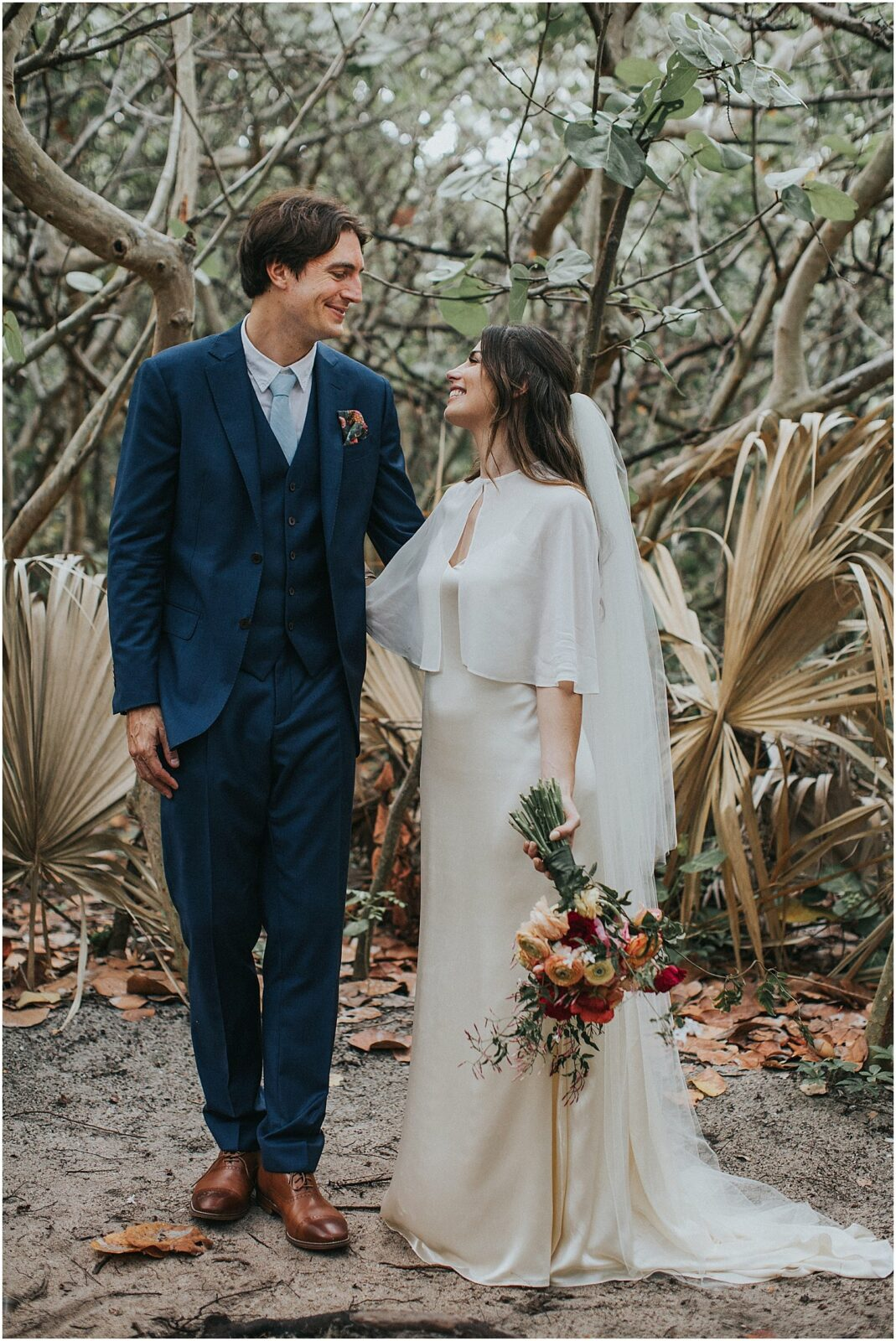 bride with cape