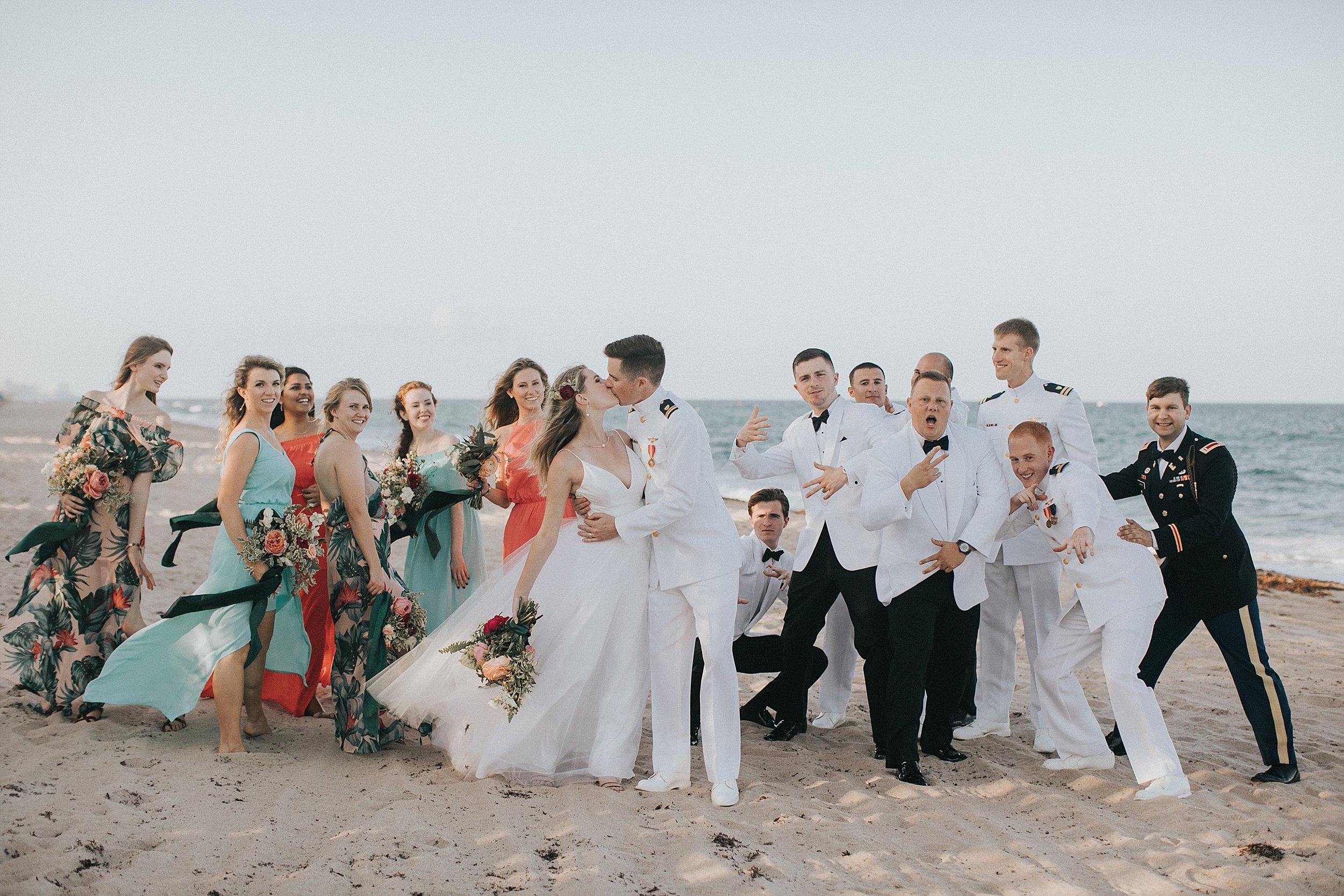 fun bridal party photos on the beach florida