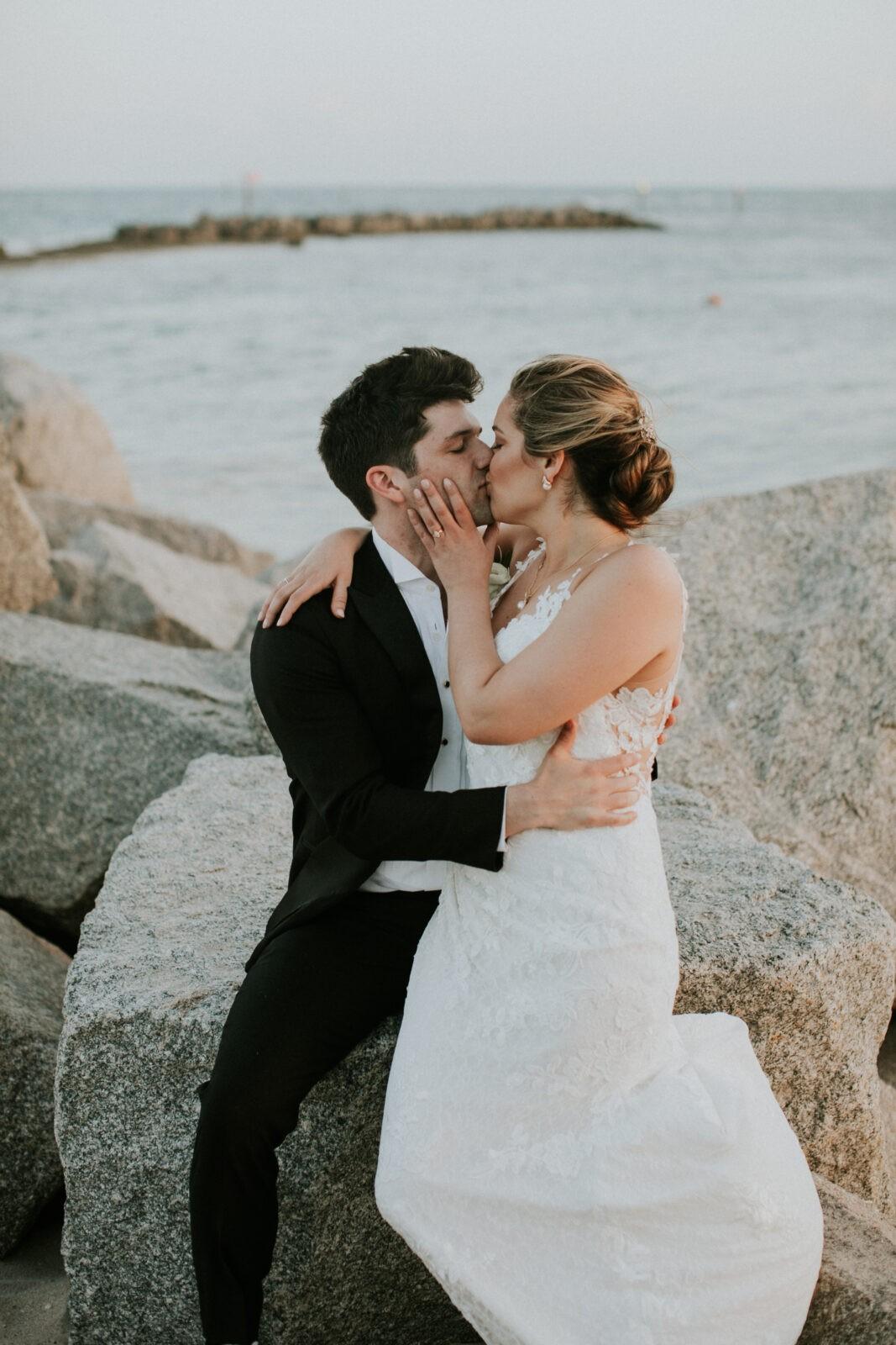 romantic beach wedding photos