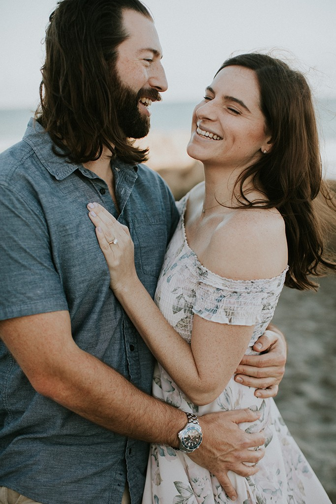 happy beach engagement session