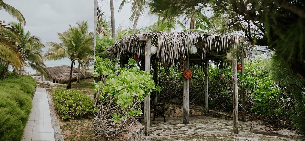 Tropical beach hut in the bahamas