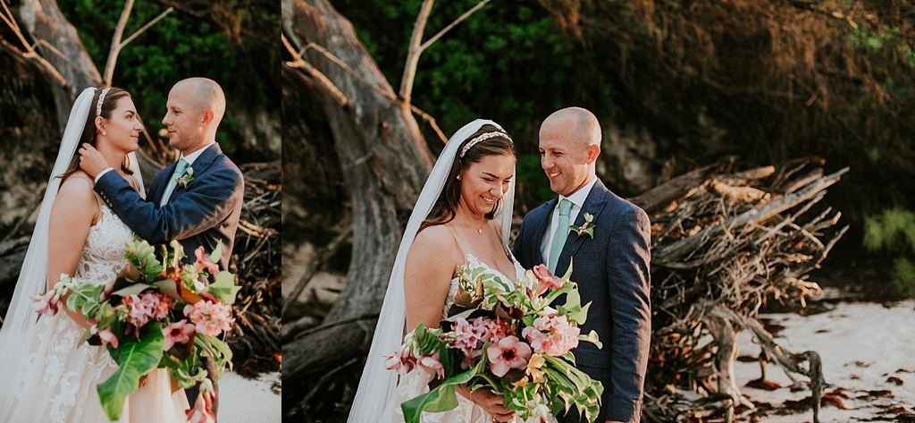 bride and groom on the beach in the bahamas