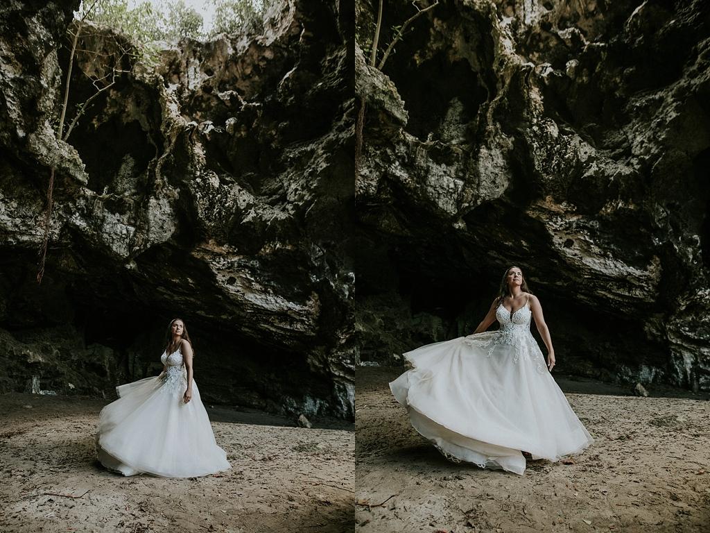 bridal portraits in a cave