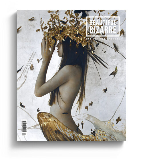 brad kunkle figurative realism painting on the cover of Beautiful Bizarre art Magazine