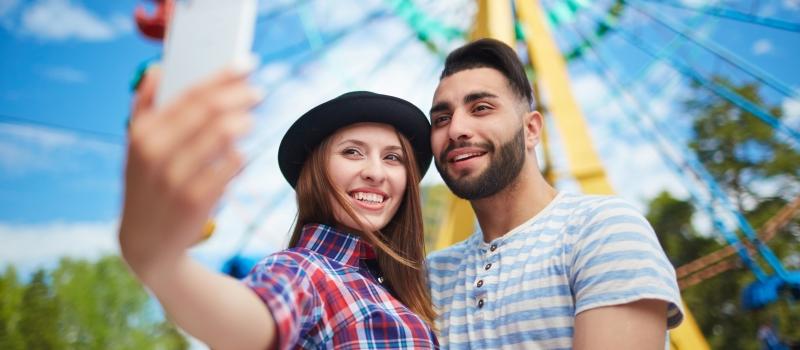 Selfie in amusement park