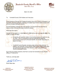 CCW Letter from the Sheriff