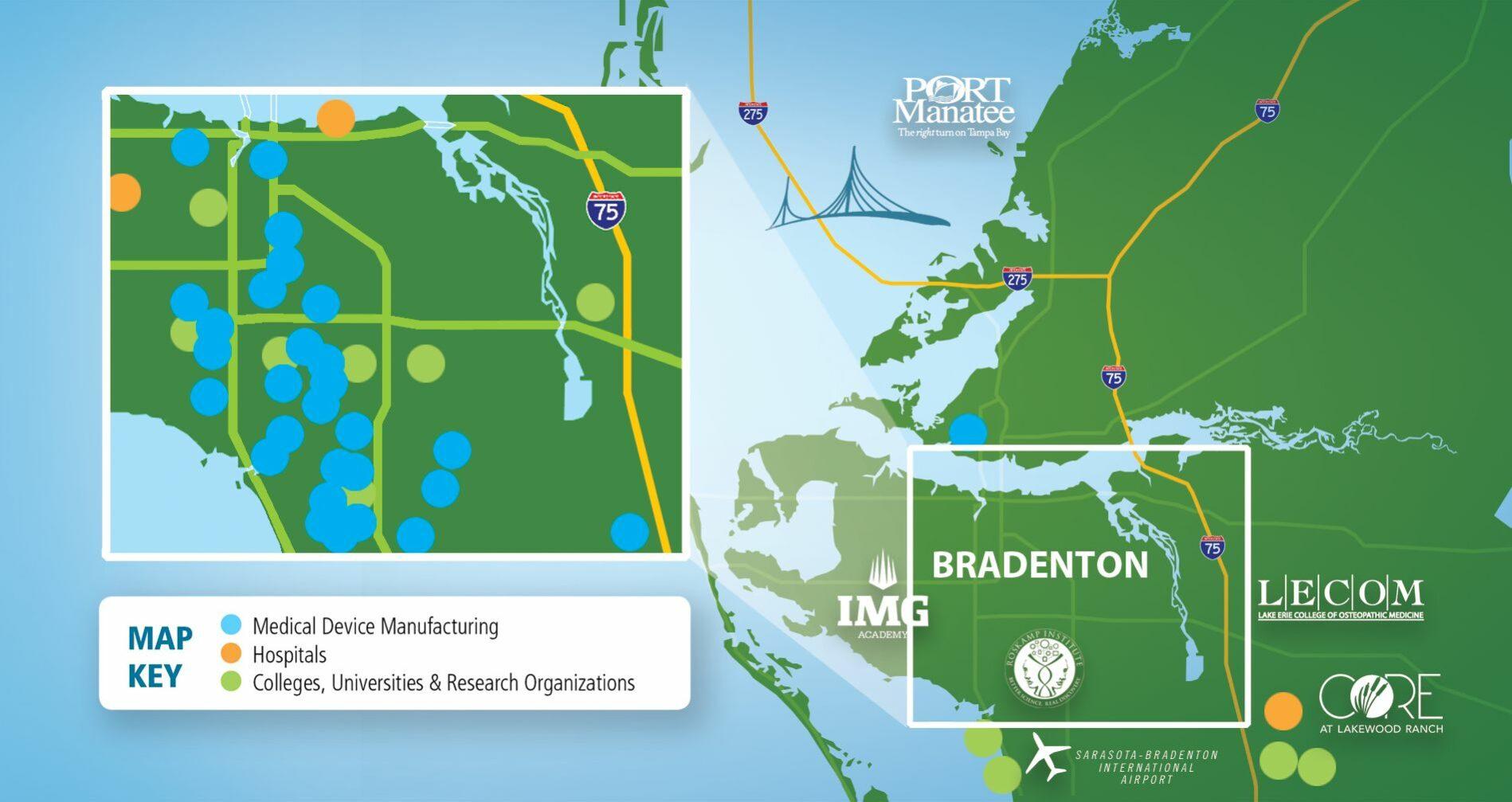 Bradenton Area map of Life Sciences Facilities
