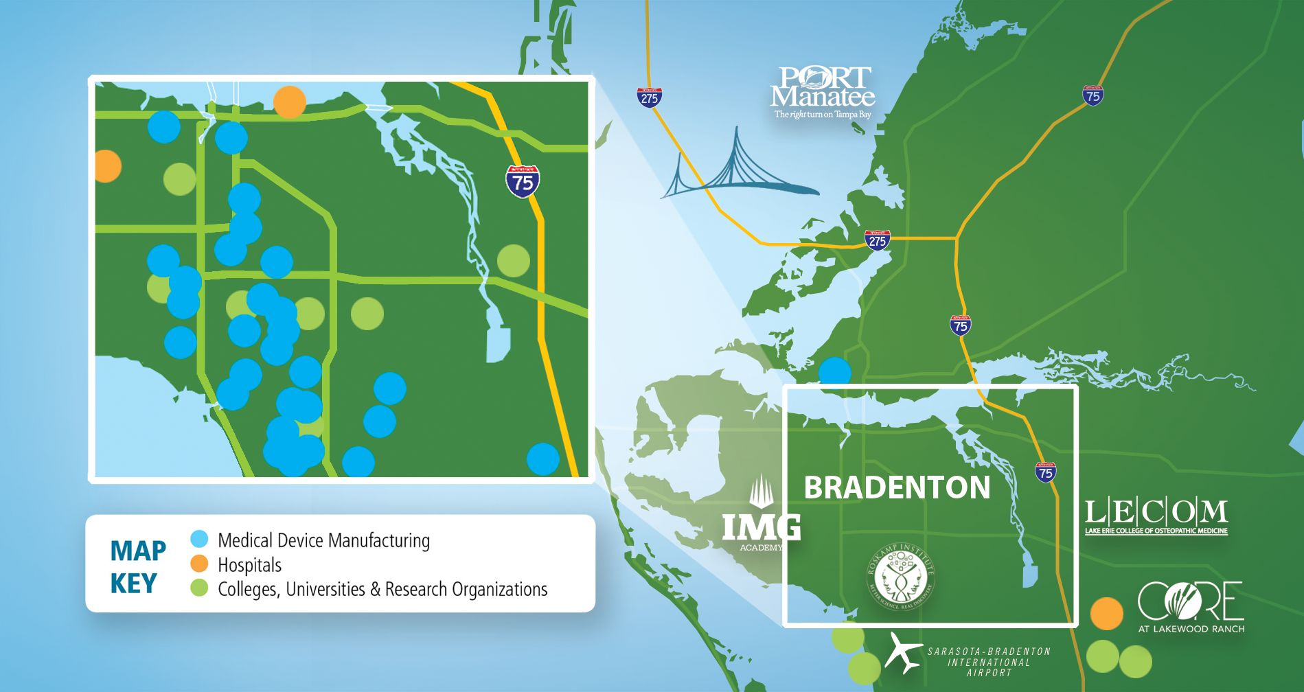 Bradenton Area map of Life Sciences Facilities