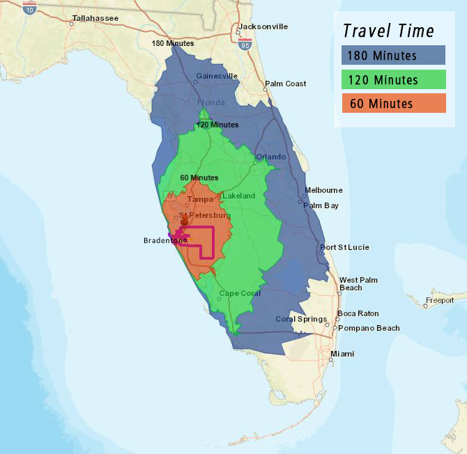 Travel times from the Bradenton Area