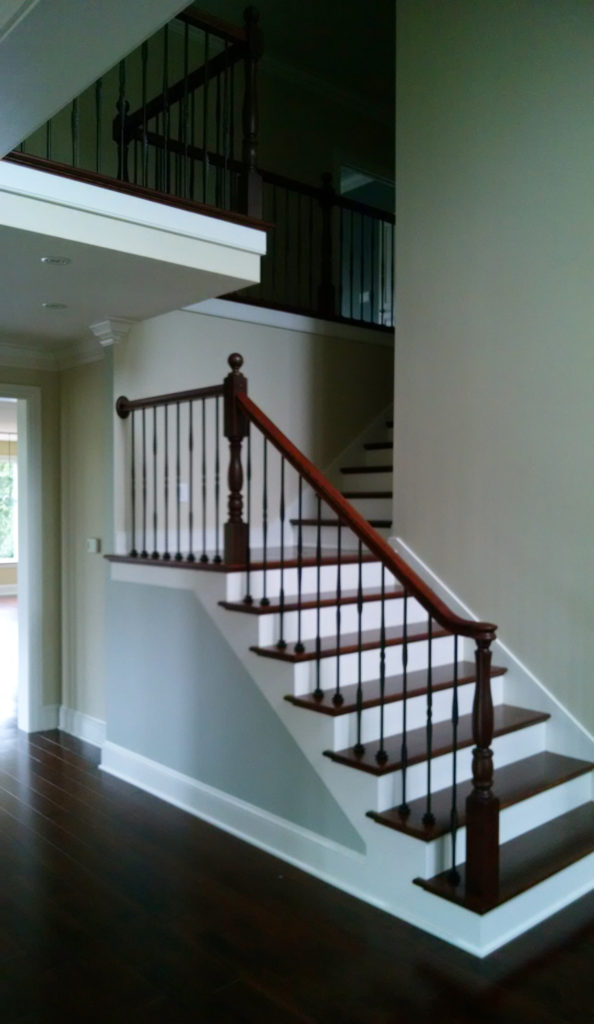 Custom stained wood stair treads.