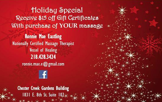 Massage special w/ Ronnie Mae Eastling in Duluth, MN! Give her a call.