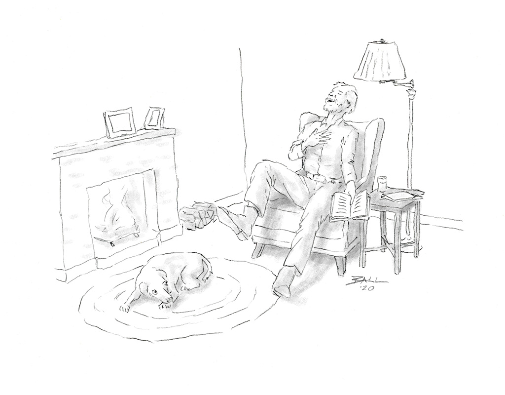 Illustration of man laughing while reading a Patrick McManus story