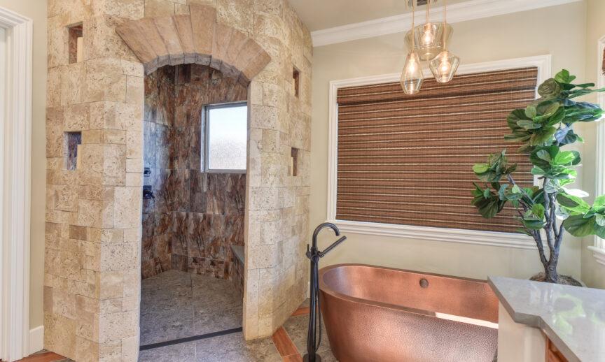 "Sanibel CoastalReef: https://eldoradostone.com/products/coastalreef/  This bathroom was featured in 2019 ""KBB"" KBIS's trade magazine.  Social Credit: @toddpeddicorddesigns"