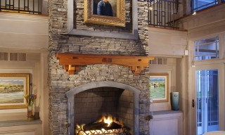 ES_Stacked Stone_Nantucket_Int_Carr Residence_fireplace with art
