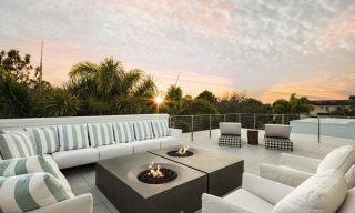 eldorado stone, fire bowl, outdoor living, great room, rooftop patio