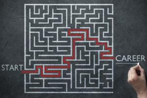 Maze path solution leading from start point to career