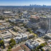 Aerial View of Vues on Gordon with Downtown LA in the Background