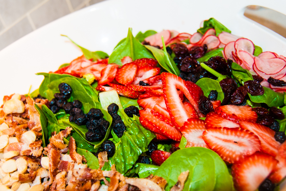 Spring Salad: Strawberries, Macadamia Nuts, Pickled Radishes, Bacon, Dried Cranberries, and Dried Blueberries