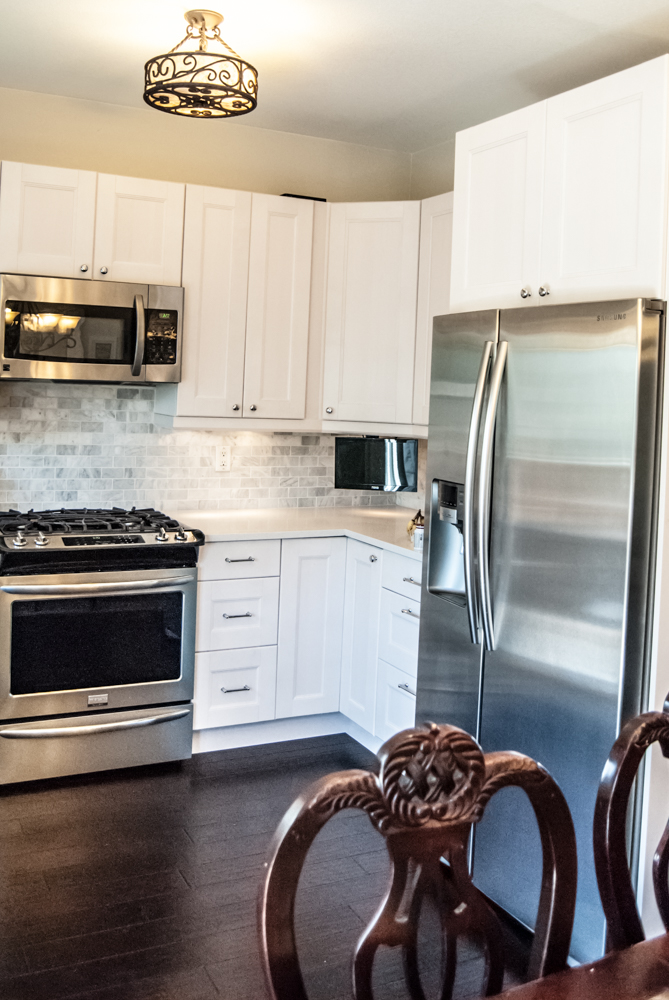 IKEA Kitchen AFTER remodel photos, cabinets built-in over fridge