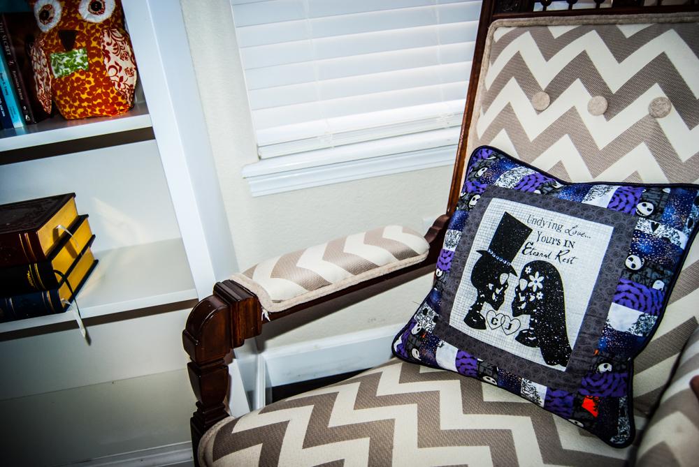 Undying Love Skeleton Monogram Pillow/ Halloween