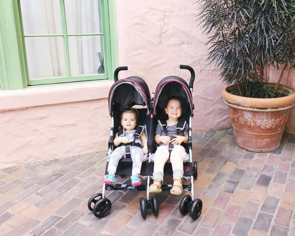 packed for two, double stroller, J is for jeep, double umbrella stroller