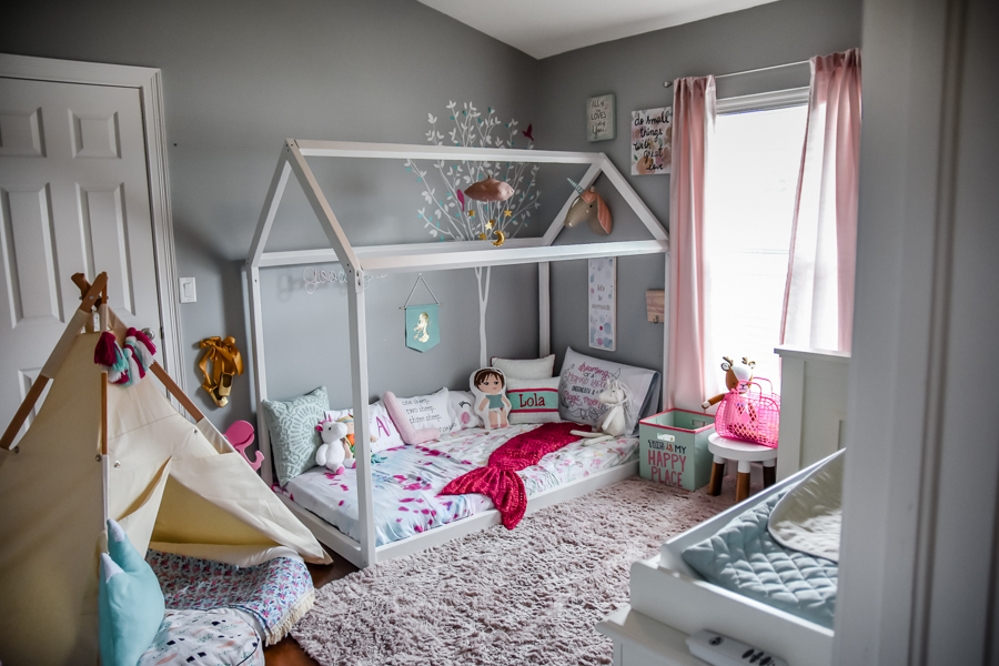 Girls Bedroom | Montessori Floor Toddler bed | DIY house frame floor bed