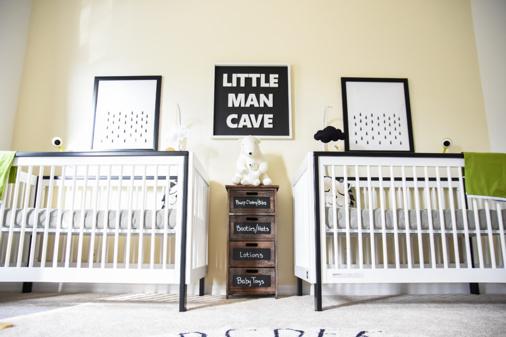 Monochrome little man cave nursery, black and white nursery, boy nursery, dream nursery, nursery décor, kids interiors, twin nursery, kids décor, baby rooms, baby boys, twin must haves, nursery reveal, monochrome baby , lollipop baby camera, lorena canal rugs, finn and emma, target pillowfort, animal heads