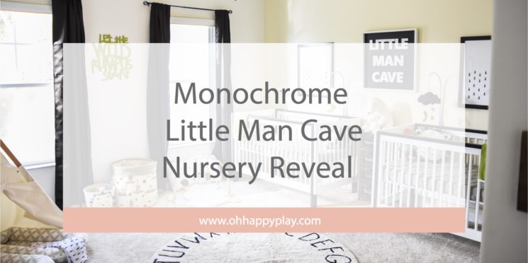 Monochrome little man cave nursery, black and white nursery, boy nursery, dream nursery, nursery décor, kids interiors, twin nursery, kids décor, baby rooms, baby boys, twin must haves, nursery reveal, monochrome baby