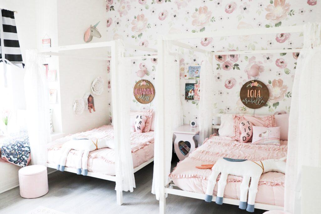 beddys beds, pink comforter set, floral bedroom, wood name sign