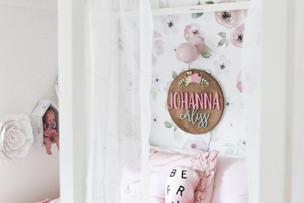 wooden name sign, floral wooden name sign