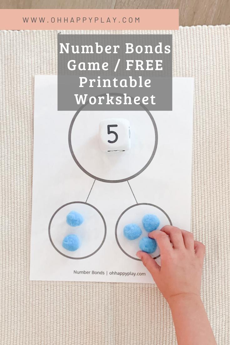 number bonds, number bonds worksheet, number bonds game, Montessori math lesson, Montessori kindergarten math, kindergarten math homeschool lesson, FREE Montessori worksheet