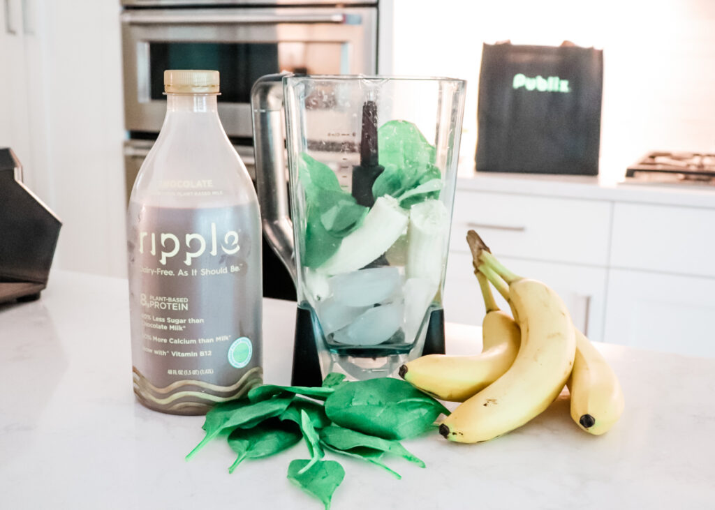 Chocolate Banana Smoothie With Ripple Plant Based Milk, chocolate banana smoothie recipe, after school snack, healthy snacks for kids, protein shake for kids, plant based milk, allergy friendly milk, healthy milk options, no diary milk, no dairy smoothie