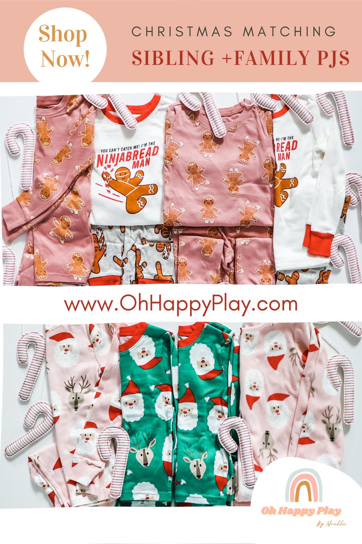 sibling matching pajamas, sibling christmas pajamas, family matching christmas pajamas, gingerbread pajamas