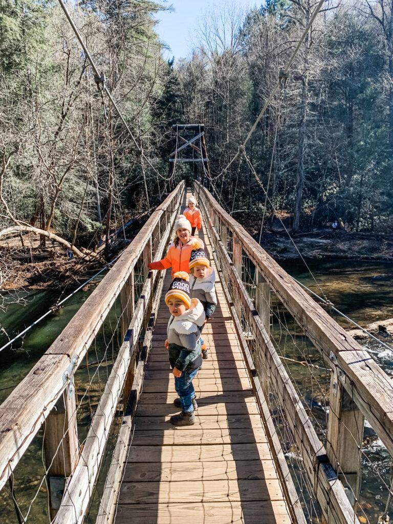 swinging bridge Georgia, hikes for kids, kid friendly activities in blue ridge Georgia, things to do with kids in blue ridge Georgia