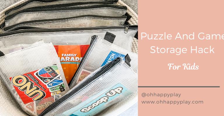 Puzzle storage ideas, puzzle storage kids, puzzle organization, game storage kids, board game storage ideas