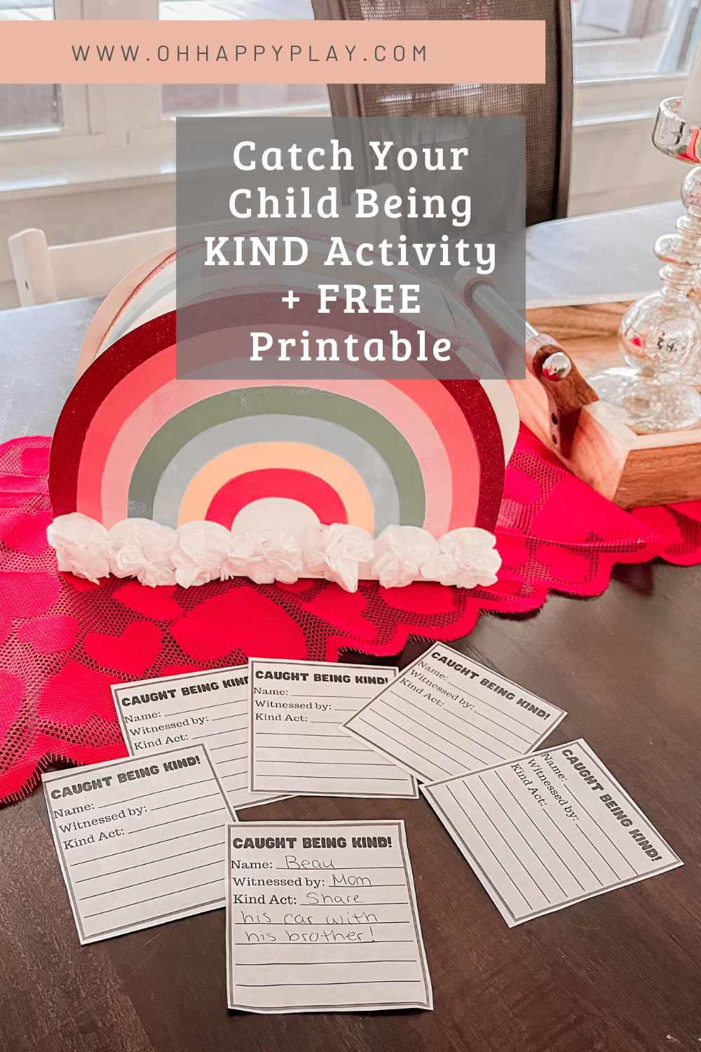 caught being kind activity, catch your child being kind, Valentine's Day activity