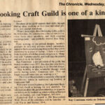 1987 / Sur les activités de la guilde ___ The Chronicle, September 23, 1987, page 47 LAKESHORE HOOKING CRAFT GUILD IS ONE OF A KIND IN QUEBEC About the Lakeshore Hooking Craft Guild activities. Image: Kay Cousineau works on an oriental rug