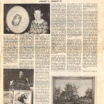 """1991 /  Sur l'Exposition de la guilde à la Bibliothèque Kirkland, du 06 au 30 janvier 1991___ Kirkland, 1991, page 7 JANUARY ART EXHIBIT: THE LAKESHORE HOOKING CRAFT GUILD January 5 - January 30, 1991 About a Lakeshore Hooking Craft Guild exhibition at Kirkland Municipal Library Picture 1, Up: Madeleine Bastien, Teacher; Picture 2, Left: Lila Weitz, President, with her Rug """"Parrrots""""; Picture 3, Right: Lantier House in Kirkland by Jeanne Osler."""